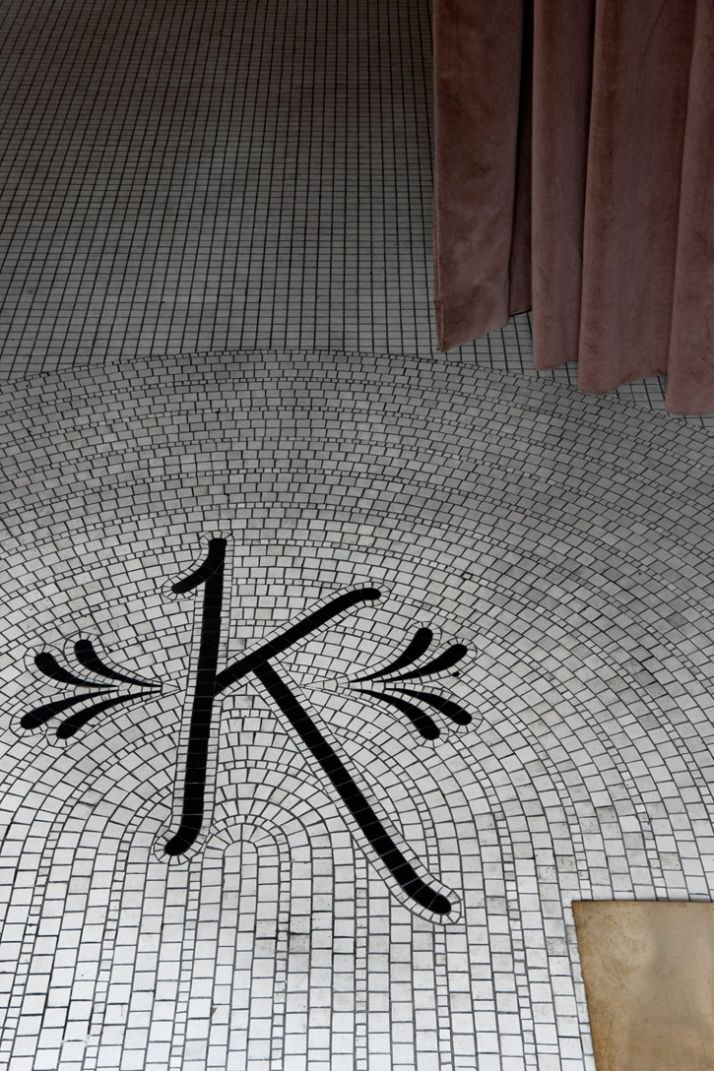 "Mosaic monogram on the floor at Kettner's, London -- "" (Cont. from above) ... to perfect the acquired ambience. This body of work is clearly accomplished w/ the combo. of 2 successful companies Studioilse & Ilse Crawford Ltd. 
