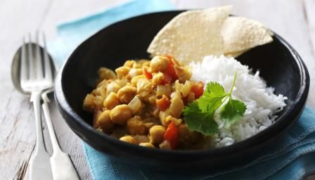 Healthy, cheap and filling: this tasty chickpea curry is perfect for a weekday dinner.  Each serving provides 246kcal, 10g protein, 26g carbohydrate (of which 6g sugars),9g fat (of which 1g saturates), 9g fibre and0.5g salt.