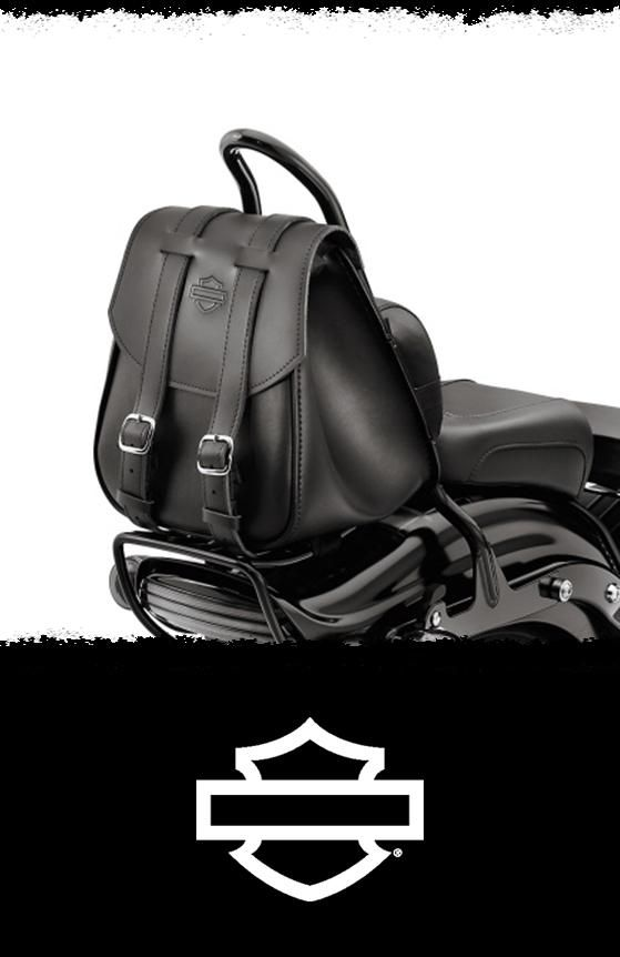 """Tapered """"messenger"""" style bag easily mounts to the sissy bar, and adds needed storage space to your custom ride. 