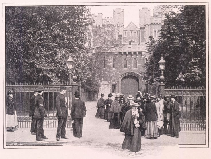 """Discharge of prisoners at the gates of Holloway Prison, c1901.- from Wikipedia: """"... noteworthy inmates that were held at the original 1852-era prison include William Thomas Stead, Isabella Glyn, F. Digby Hardy, Christabel Pankhurst, and Oscar Wilde."""""""