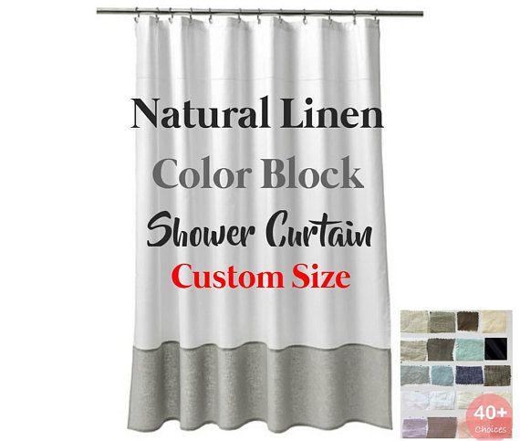 Natural Linen Color Block Shower Curtain Mildew Free Custom