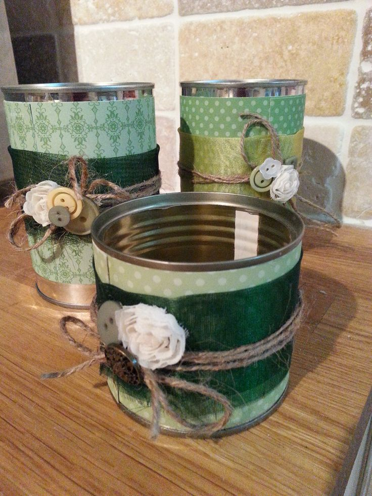 Tin can candle/ flower holders