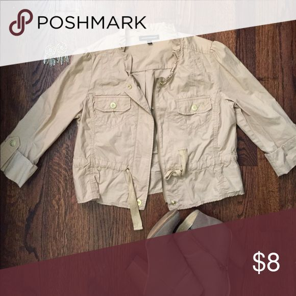 "Cream Zip Up Lightweight ""Jacket"" with belt This is perfect for that ""in between"" weather and sprucing up the day's outfit! Express Tops"