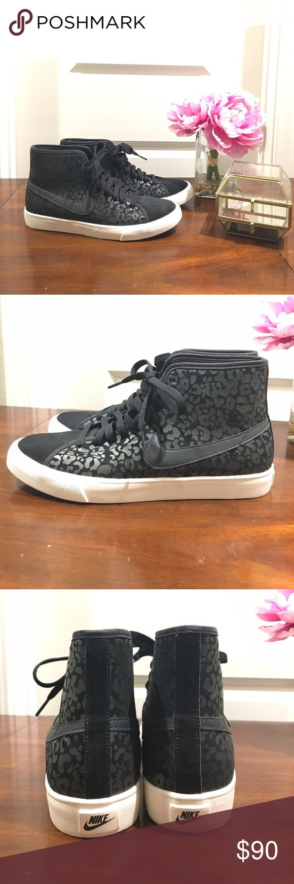 "NWOT Black Cheetah Print Nikes These black on black cheetah print high top Nikes have never been worn. I was a little too eager that I was going to change my casual ""street style"" and these beauties have been sitting in my guest closet ever since. They need a new home! Nike Shoes Sneakers"