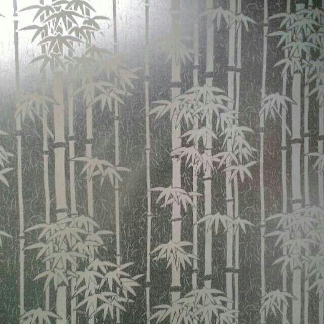 Stiker kaca motif bambu