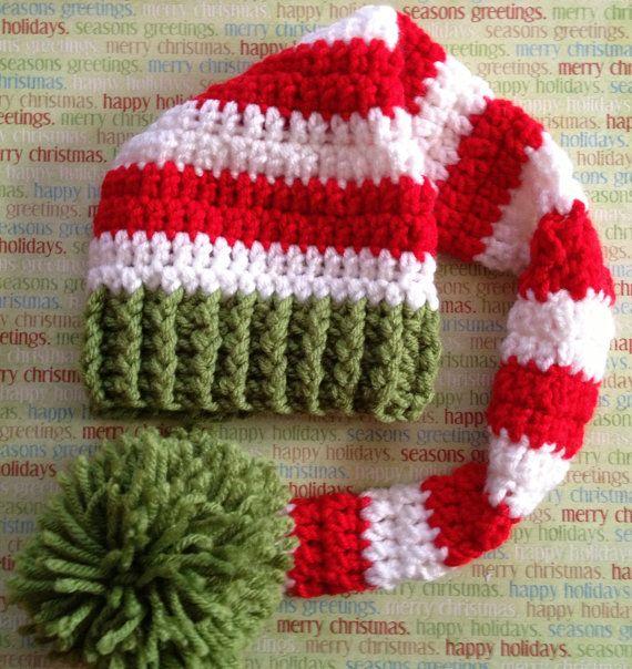 Crochet el sombrero de media de la Navidad por shopatmoes en Etsy