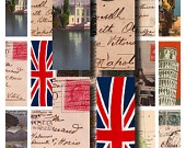1x3 inch european postcards, old maps, and luggage labels