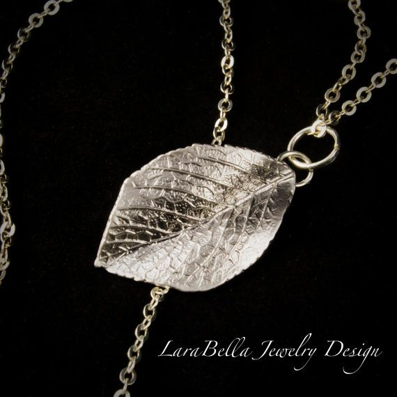"Fallen leaves matte silver charm necklace on 20"" silver filled chain. 614937NSF"