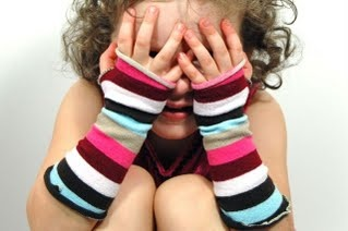 Upcycled/Recycled little girl arm warmers, made from a pair of infant tights.