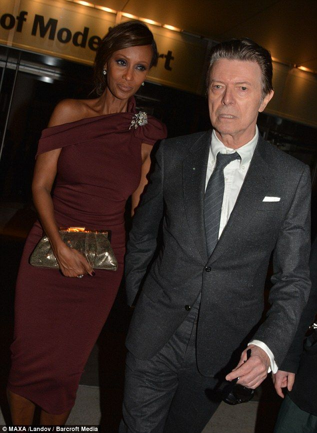Date night: David Bowie and wife Iman leave the Museum of Modern Art Tribute to Tilda Swinton on Tuesday night