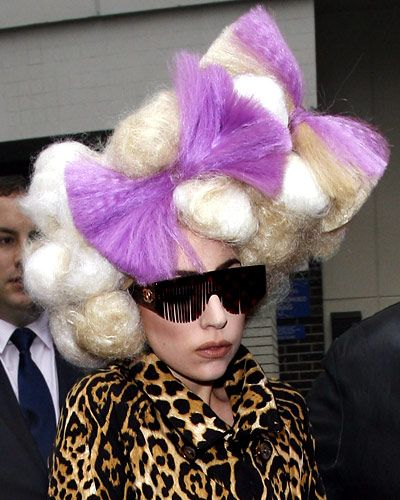 Lady Gaga's 25 Most Outrageous Hairstyles - Poodle-Puff Pompadour with Lavender Bows from InStyle.com