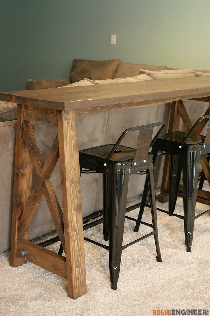 Bar Top Console Table | Rogue Engineer | rogueengineer.com #BarTopConsoleTable #livingroomDIYplans
