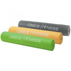 "Cosco POWER YOGA MAT      PVC Shrink wrapped with carrying net.     Thickness : 5mm.     Size : 68"" x 24"".     Weight : 945 gm.     Available in Orange, Green, Dark Grey, Blue colours.     Available in 2 Different designs."