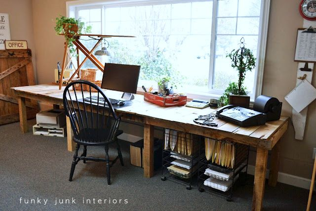 Love this desk! Pallet farm table styled office desk via Funky Junk Interiors