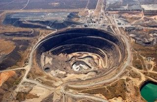 Letlhakane mine, Botswana.  Second mine opened, in 1975. Deepest pit in Botswana.