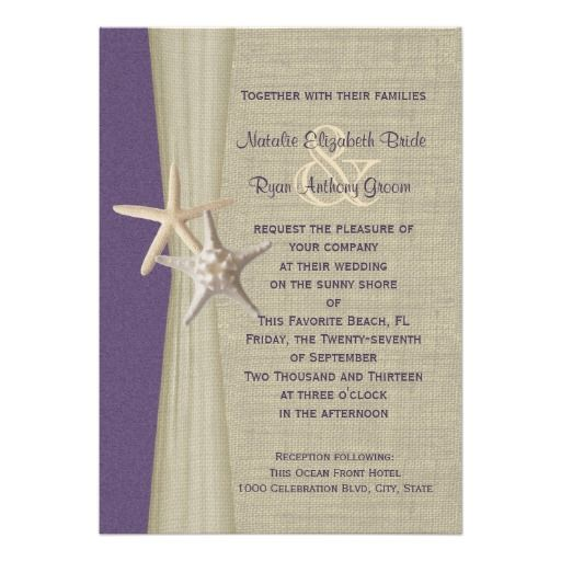 Beach Wedding Purple Starfish Invitation