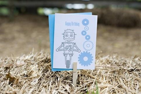 Robot Happy Birthday Card from Jane Hancock PapersBirthdays, Robots Happy, Hancock Paper, Robots Birthday, Happy Birthday Cards, Robots Robots, Products