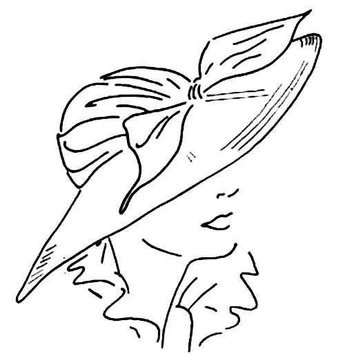 Embroidery Pattern from 1940's Wide Brim Hat 2-piece hand-drafted pattern originally by Ladies' Home Journa. jwt