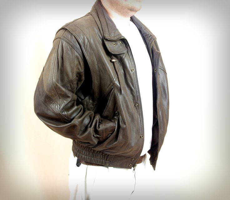 80s Wilson Leather Bomber Jacket * Brown Leather Jacket * Vintage ...