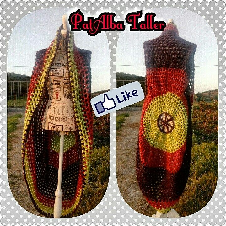Chaleco circular tejido a  crochet sin mangas,  un gran mandala con colores tierra q te acompañe en las frescas tardes de primavera 😚👓🌅👌  #patalbataller #diseñodeautor #emprendedora #artesana #tejidos #handmade #crochet #confeccionapedido