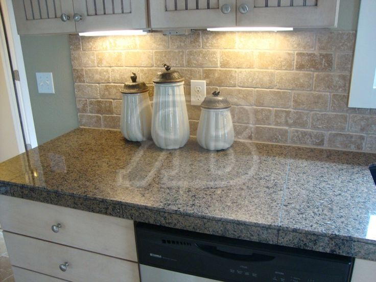 Kitchen Backsplash No Grout granite tile countertops without grout lines | desert brown 18x31