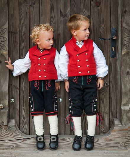 "Norwegian boys in ""bunad"""