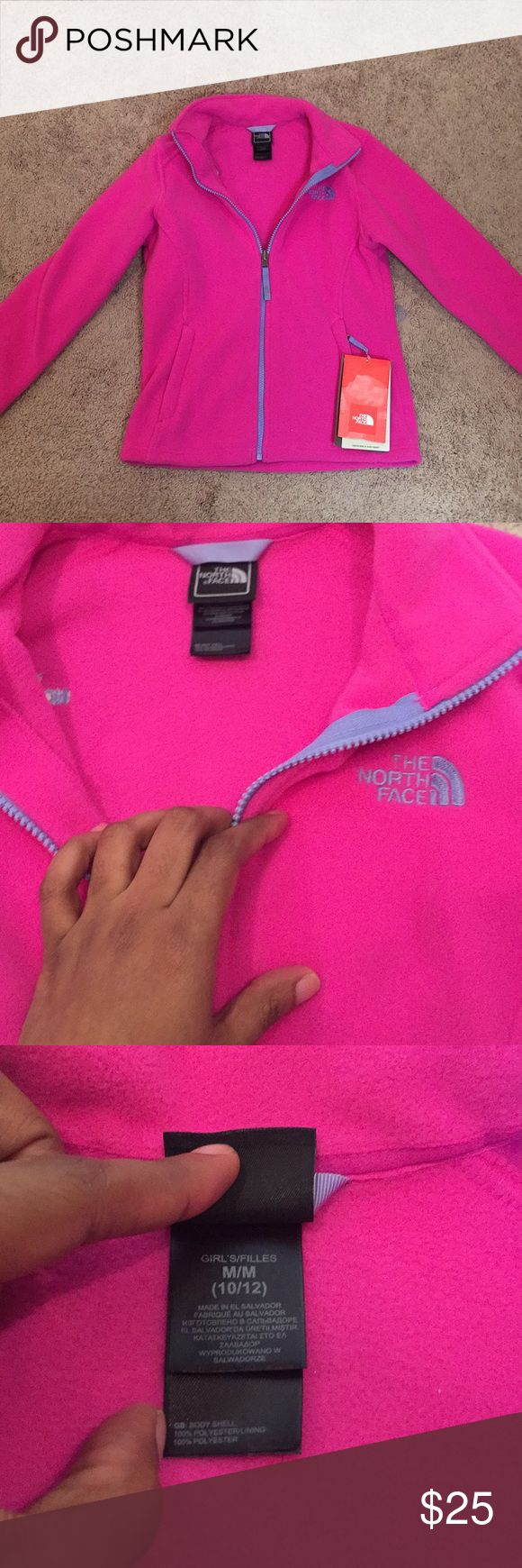 Girls North Face Azalea Pink Fleece NWT Never worn fleece medium size 10/12. Such a pretty pink color. Perfect for winter. North Face Jackets & Coats