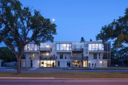 Bloc 10, designed by 5468796 architecture in Winnipeg, Manitoba for Green Seed Developments. It is a three storey walk-up that houses ten units in style.