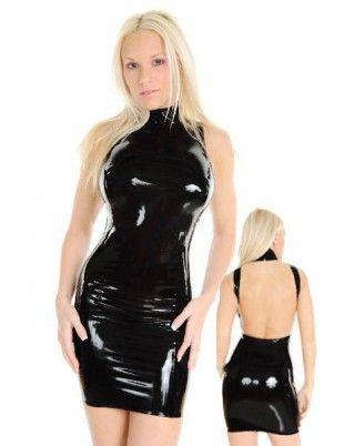 Smooth Wet Look Halter Dress