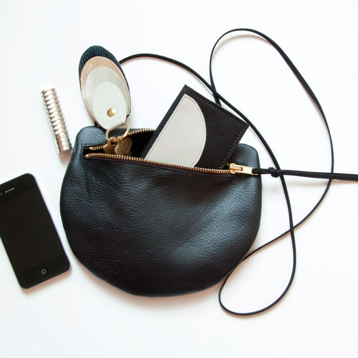 PEARL Black Leather Shoulder Purse. Small Round Cross Body Purse