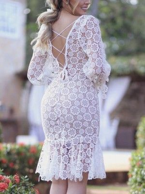 e4a46266bdf802 Crochet Lace Lace Up Back Fishtail Midi Dress #chic #casual #pretty  #elegant #evening #floral #beautiful