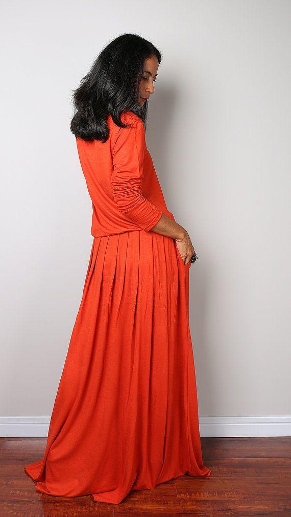 Orange Maxi Dress   Long Sleeve dress : Autumn Thrills