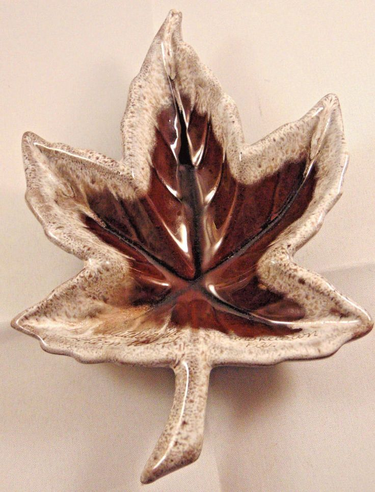 Smoketown Leaf Trinket Mint Dish Brown Canada Dutchland Farmhouse PA.Ceramic