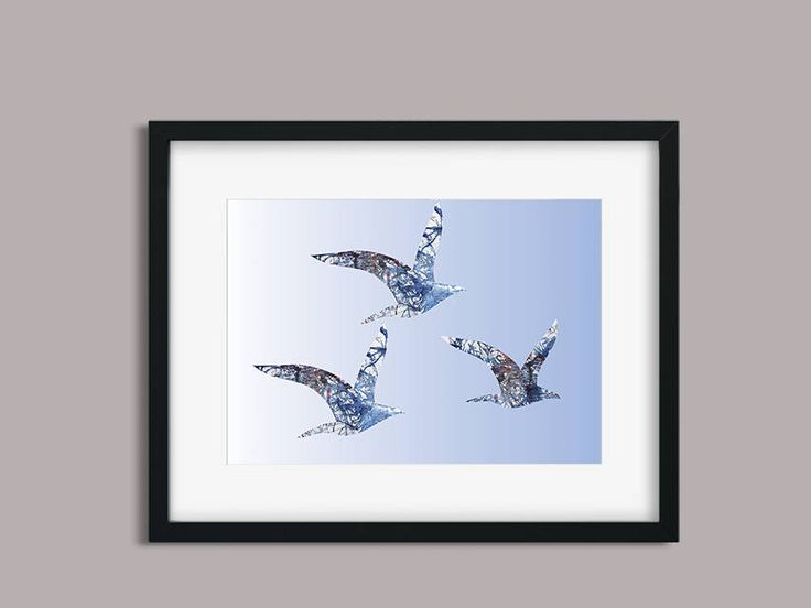 Birds Flying High Digital Download, Instant Print File,Birds Watercolour and Digital Image, Digital file, A4 size, Jpeg file by PaperJamink on Etsy