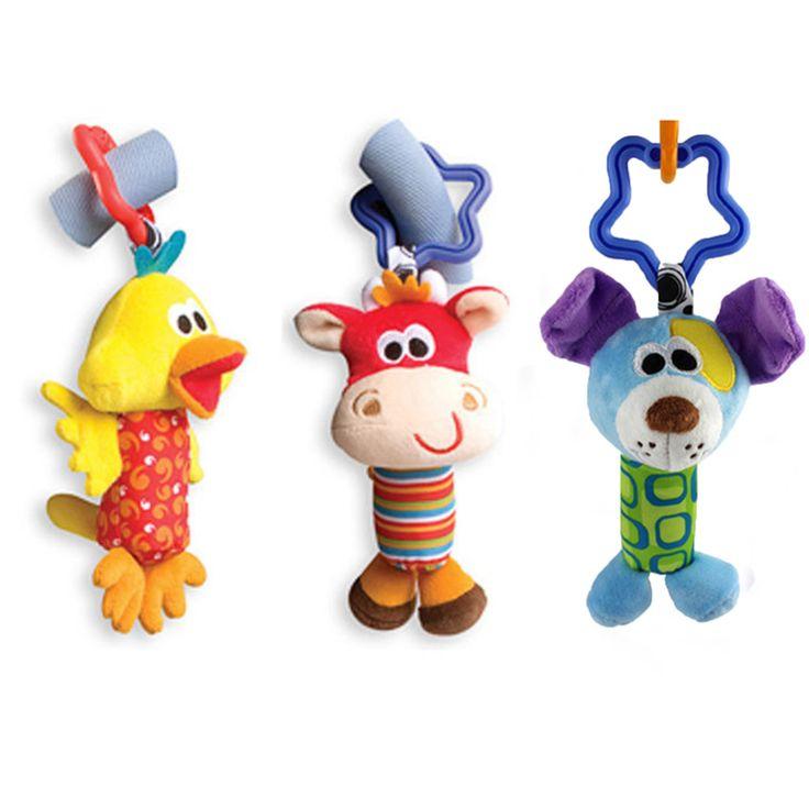Baby Toys Погремушки Звон Колокольчик Плюшевые Коляска Дети Toys Милый Животных Утка Собака Палевый Детские Игрушки