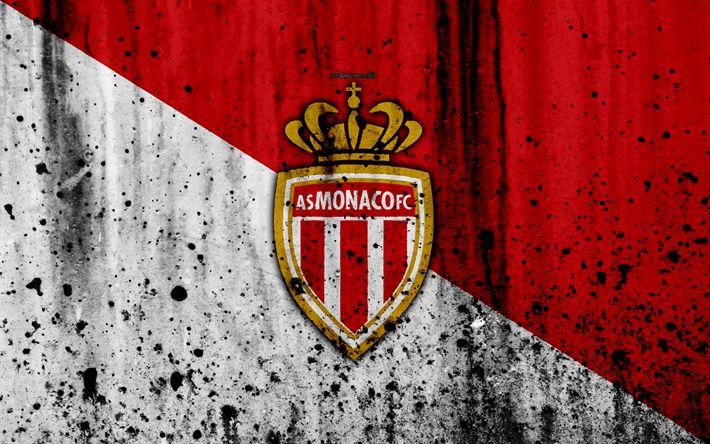 Download wallpapers AS Monaco, 4k, logo, Ligue 1, stone texture, Monaco, grunge, soccer, football club, metal texture, Liga 1, Monaco FC