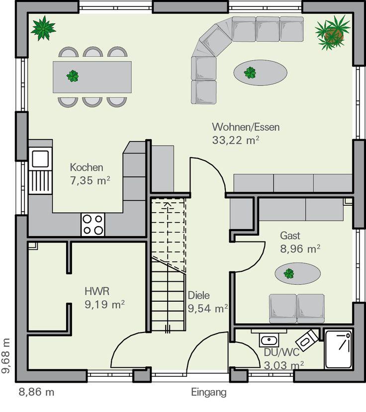 Grundriss einfamilienhaus modern gerade treppe  Die besten 25+ Grundriss einfamilienhaus Ideen auf Pinterest ...