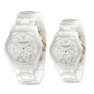 Couple Emporio Armani Ceramic Watches AR1416 & AR1417  Now: $672.00