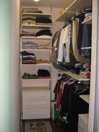 Small closet design pictures on walk in closet designs for Small storage hassocks