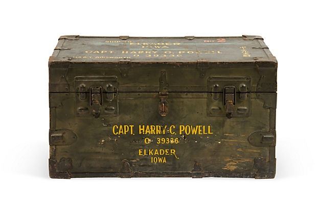 Vintage Trunks (this is a 1940s military trunk)  $365