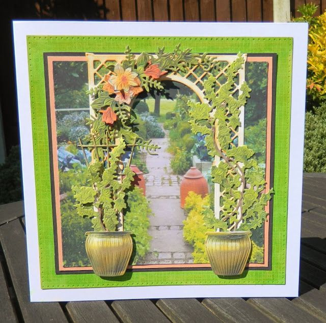 I've used tattered lace dies , heavenly trellis, terracotta trellis , and ditsy climber, in combination with the charisma down loads. The outer die square is a Sue Wilson , double pierced square part of a set (I use this all the time). The garden scene was just an image I found on google and printed out .