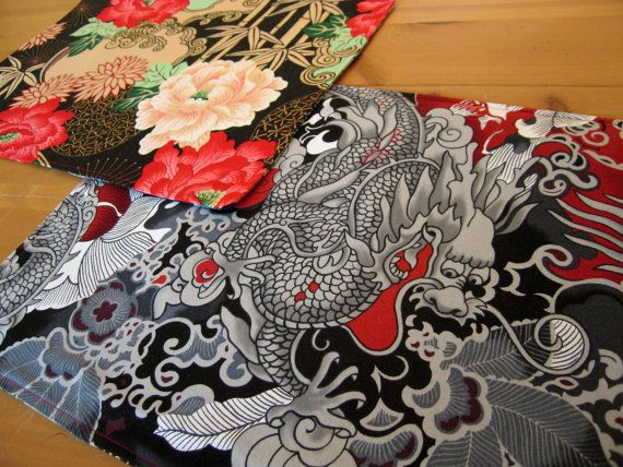 Asian Placemats (4) with Bright Red Flowers and Asian Dragons and Gold Accents