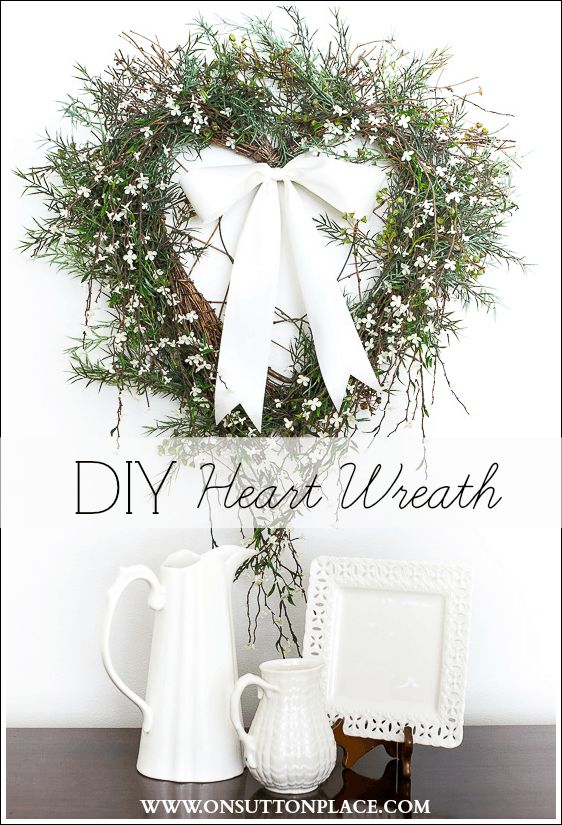 Easy and quick DIY Heart Wreath Tutorial. Take a plain grapevine wreath and turn it into a showstopper in minutes!