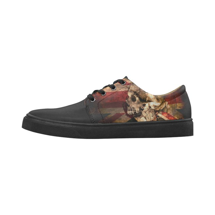 Grunge Skull and British Flag Cygnus Pointed Toe Women