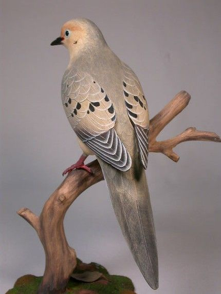 Life Size Mourning Dove Hand Carved Wooden Bird - $595