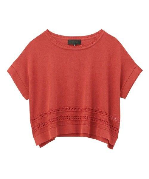 UNTITLED(アンタイトル)の透かし編みリネンゆるニット(ニット/セーター)|レッド
