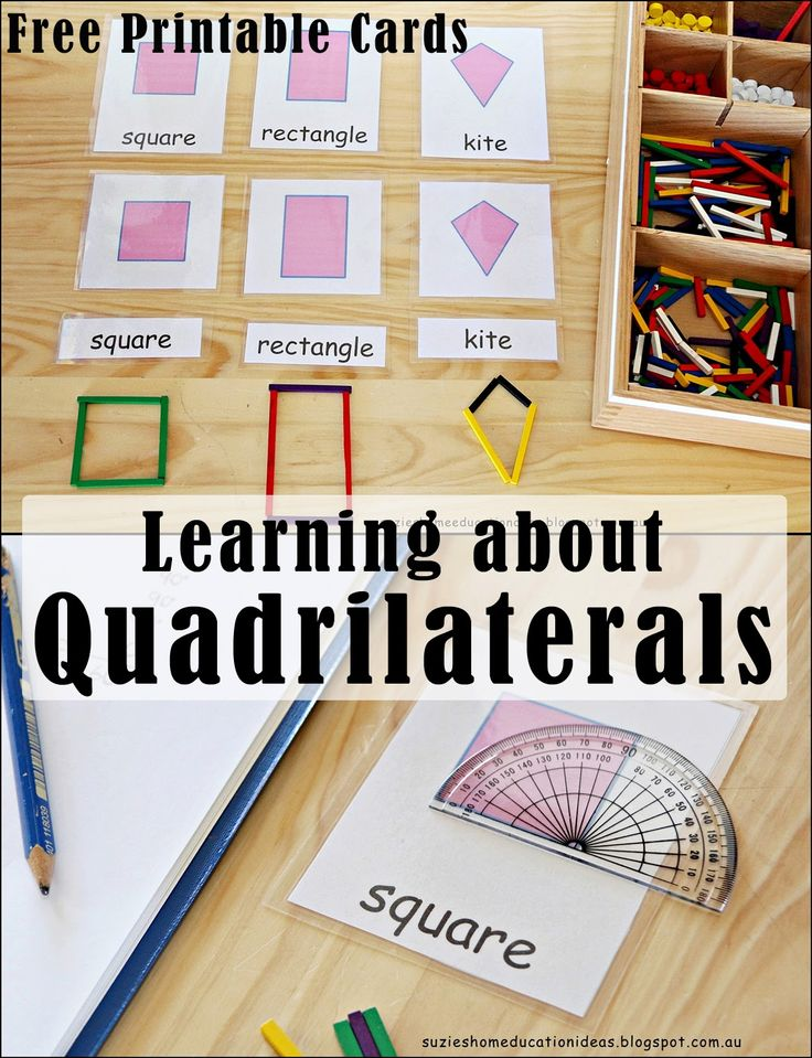 Learning about Quadrilaterals - Free Printable Cards from Suzie's Home Education Ideas
