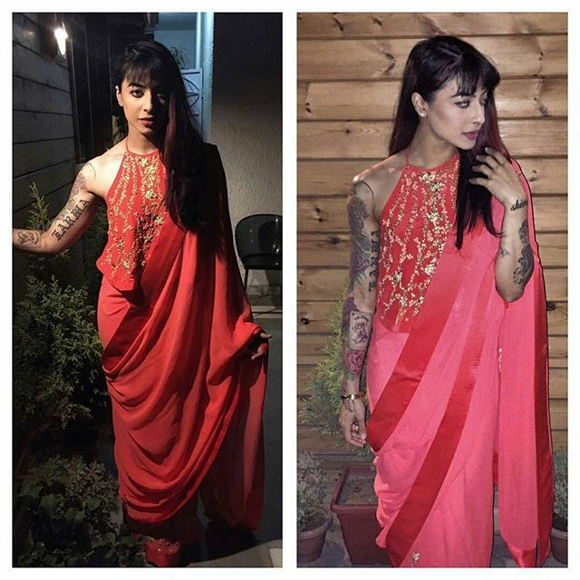VJ Bani Judge in Nika share Saree for an event in Delhi today @BOLLYWOODSTYLEFILE  . . Outfit  ~ #Nikasha Styled by  ~ @devs