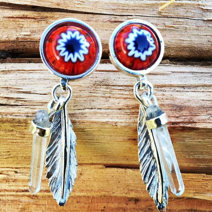 sterling silver feather earrings set with millefiore and natural quartz