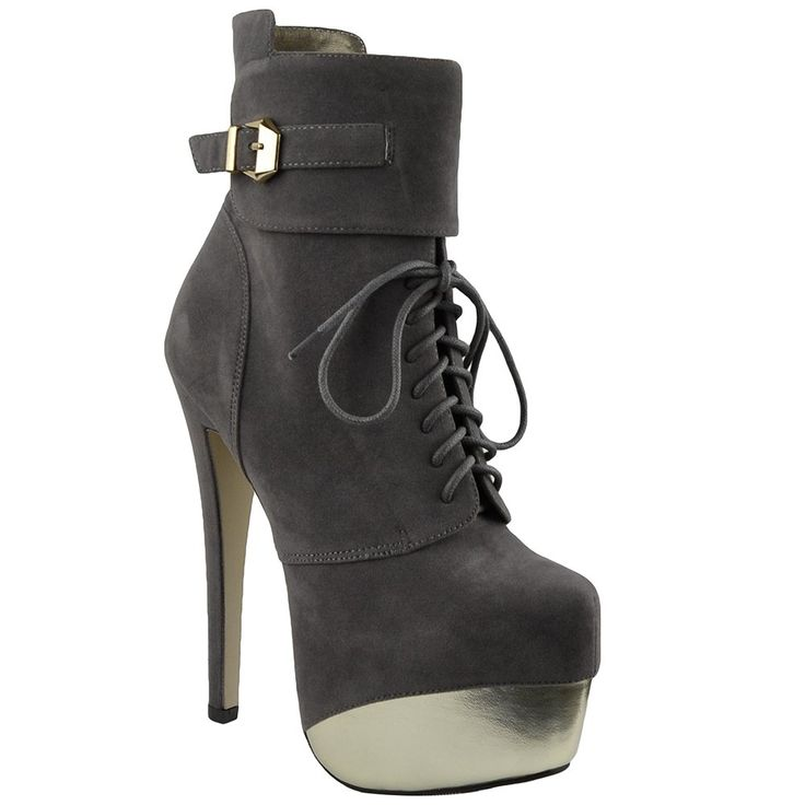 Womens Mid Calf Boots Two Tone Platform Sexy High Heels Gray 8. Fur Lining. Lace Up. Wrapped Platform Heel. Side Zipper.